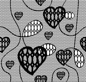 Modelo inconsútil del cordón de la tela negra del vector Fotografía de archivo