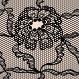 Modelo inconsútil del cordón de la tela negra del vector Fotos de archivo
