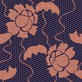 Modelo inconsútil del cordón de la tela negra del vector Imagen de archivo libre de regalías