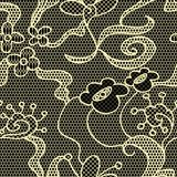 Modelo inconsútil del cordón de la tela negra del vector Foto de archivo libre de regalías