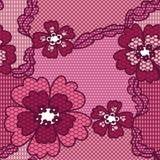 Modelo inconsútil del cordón de la tela roja del vector Imagenes de archivo