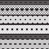 Modelo inconsútil del cordón de las cintas de la tela negra del vector Foto de archivo libre de regalías