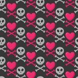 Modelo inconsútil del cráneo, del corazón y de la bandera pirata ilustración del vector