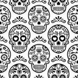 Modelo inconsútil del cráneo mexicano del azúcar, cráneos fondo, día de la celebración muerta, diseño del caramelo de Halloween d libre illustration