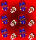 Modelo inconsútil del cráneo mexicano, Calavera con las flores Decoración para el día de los muertos, Dia de los Muertos Cartel d ilustración del vector