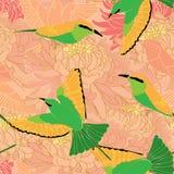 Modelo inconsútil del crisantemo del abeja-comedor del pájaro stock de ilustración