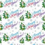 Modelo inconsútil del día de fiesta con el árbol de navidad Imagen de archivo libre de regalías