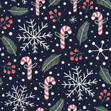 Modelo incons?til del d?a de fiesta con los caramelos de la Navidad, snoflakes ilustración del vector