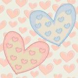 Modelo inconsútil del día de tarjeta del día de San Valentín con los corazones con los remiendos atados. Fotos de archivo libres de regalías