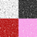 Modelo inconsútil del día de tarjeta del día de San Valentín en b rojo, blanco, rosado y negro Imagenes de archivo