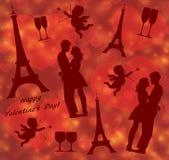 Modelo inconsútil del día de tarjeta del día de San Valentín con la torre Eiffel, la silueta de los amantes y el cupido stock de ilustración