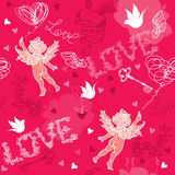 Modelo inconsútil del día de tarjetas del día de San Valentín con el cupido, mano d Foto de archivo libre de regalías