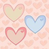 Modelo inconsútil del día de tarjetas del día de San Valentín con los corazones con a Fotografía de archivo
