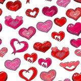 Modelo inconsútil del día de tarjetas del día de San Valentín Corazones rojos y rosados Fotos de archivo