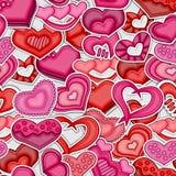 Modelo inconsútil del día de tarjetas del día de San Valentín Corazones rojos y rosados Fotografía de archivo
