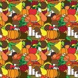 Modelo inconsútil del día feliz de la acción de gracias con las verduras Autumn Traditional Holiday Ornament de Turquía y de la c Foto de archivo libre de regalías