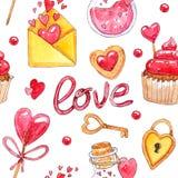 Modelo inconsútil del día del ` s de la tarjeta del día de San Valentín de la acuarela libre illustration