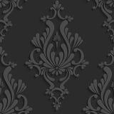 Modelo inconsútil del damasco floral negro 3d Fotos de archivo