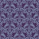 Modelo inconsútil del damasco que repite el fondo Ornamento floral azul púrpura en estilo barroco stock de ilustración