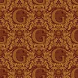 Modelo inconsútil del damasco que repite el fondo Ornamento floral marrón de oro con la letra de G y corona en estilo barroco ilustración del vector