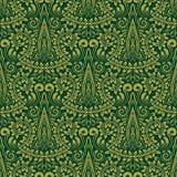 Modelo inconsútil del damasco que repite el fondo Ornamento floral verde en estilo barroco stock de ilustración