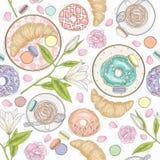 Modelo inconsútil del desayuno con las flores, los pasteles y el café libre illustration