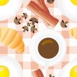 Modelo inconsútil del desayuno en estilo plano de la historieta Imágenes de archivo libres de regalías