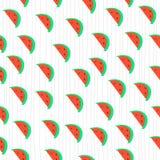 Modelo inconsútil del dibujo de la mano de la sandía del vector Imagen de archivo libre de regalías