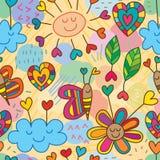 Modelo inconsútil del dibujo inestable del amor de la flor de la nube Fotografía de archivo libre de regalías