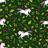 Modelo inconsútil del dibujo del unicornio stock de ilustración