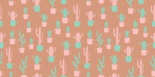 Modelo inconsútil del diseño del cactus del vintage con la mano escandinava linda dibujada libre illustration