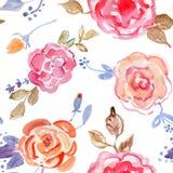 Modelo inconsútil del diseño del ramo de Rose en el fondo blanco Imagen de archivo libre de regalías