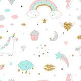 Modelo inconsútil del diseño mágico con unicornio, el arco iris, los corazones, las nubes y otras elementos stock de ilustración