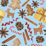 Modelo inconsútil del diverso Año Nuevo 2019 y de los elementos decorativos de la Navidad - ejemplo a mano del Watercolour imagen de archivo libre de regalías