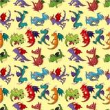 Modelo inconsútil del dragón del fuego de la historieta Fotos de archivo libres de regalías