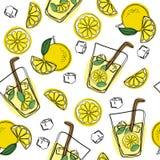Modelo inconsútil del drenaje de la mano de la limonada Limonada fresca y sabrosa, agua, bebida, vintage del vector del jugo imagen de archivo libre de regalías