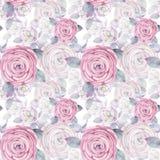 Modelo inconsútil del ejemplo de la acuarela Fondo mezclado de las rosas Papel pintado romántico stock de ilustración