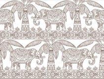 Modelo inconsútil del elefante y de la palmera Imagenes de archivo