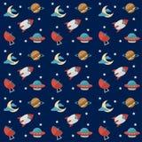 Modelo inconsútil del espacio con los cohetes, los planetas, las estrellas, los alcances, la luna, el observatorio y otros equipo stock de ilustración