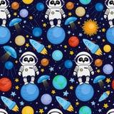 Modelo inconsútil del espacio de la historieta - astronauta de la panda, nave espacial, planetas, satélites ilustración del vector