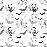 Modelo inconsútil del esqueleto, del cráneo y del palo en el fondo blanco libre illustration
