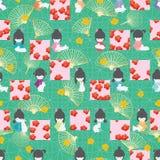 Modelo inconsútil del estilo de Sakura del cuadrado de la simetría del conejo de la muñeca de Japón libre illustration