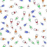 Modelo inconsútil del estilo plano de copas de vino Concepto para la tela y el papel, texturas superficiales Ilustración del vect imagen de archivo libre de regalías