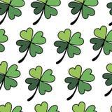 Modelo inconsútil del estilo plano de los tréboles para el día feliz del St Patricks stock de ilustración