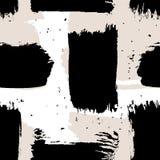 Modelo inconsútil del extracto del vector con los movimientos del cepillo Textura pintada a mano Pinceladas negras en un fondo bl stock de ilustración