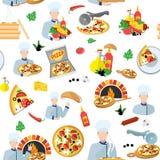 Modelo inconsútil del fabricante de la pizza stock de ilustración
