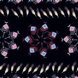 Modelo inconsútil del fondo con diseños geométricos y plumas Imagen de archivo