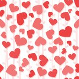 Modelo inconsútil del fondo con los corazones rojos y rosados Foto de archivo libre de regalías