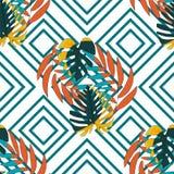 Modelo inconsútil del fondo de la geometría con las hojas exóticas tropicales stock de ilustración