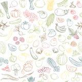 Modelo inconsútil del fondo de las frutas y verduras frescas de la granja orgánica stock de ilustración
